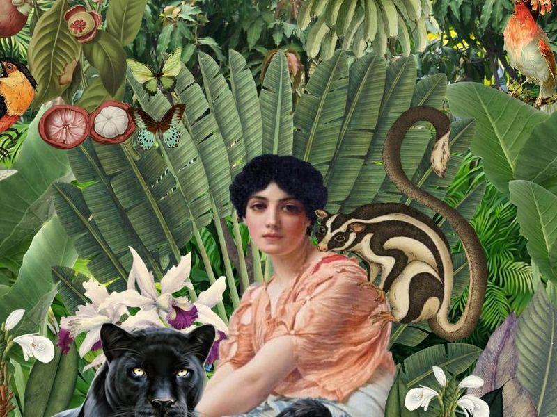 Conka Collage - Mujer en la selva con pantera