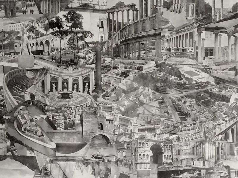 Roma I, collage analogo de papel hecho a mano