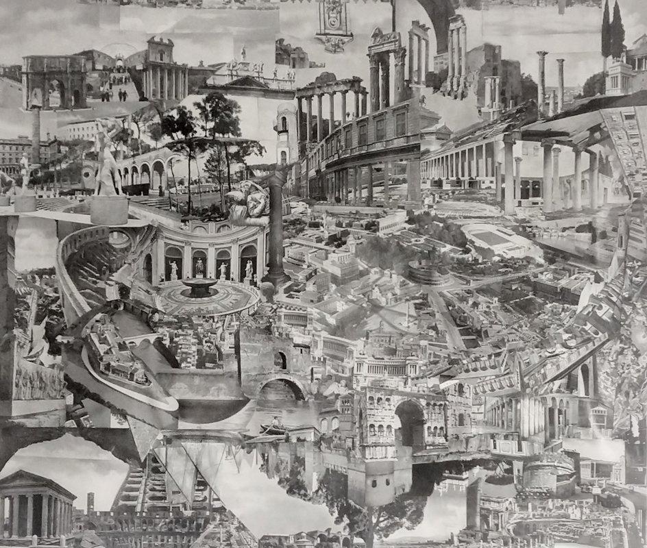 Roma I, collage analogo de papel hecho a mano | Félix Villar Valdés - Tijera Hormiga